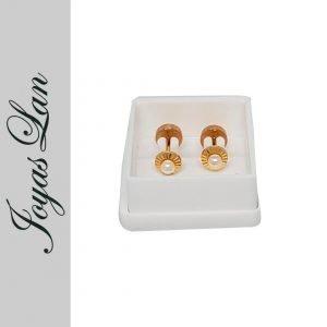Par de aros abridores Oro 18kts modelo PF01 facetado/perla